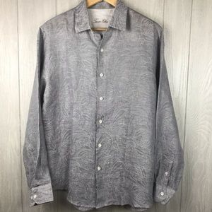 Tasso Elba gray linen casual button down shirt